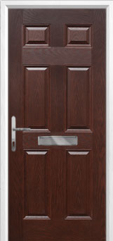 6 Panel Composite Front Door in Darkwood