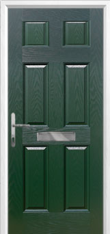 6 Panel Composite Front Door in Green