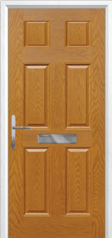 6 Panel Composite Front Door in Oak