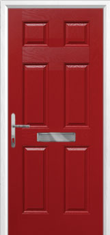 6 Panel Composite Front Door in Red