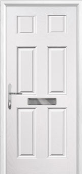 6 Panel Composite Front Door in White