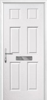 6 Panel Composite Front Door in White