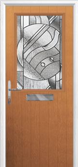 Cottage Half Glazed Abstract Composite Front Door in Oak