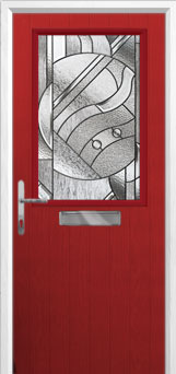 Cottage Half Glazed Abstract Composite Front Door in Red