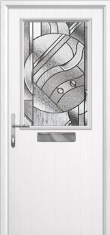 Cottage Half Glazed Abstract Composite Front Door in White