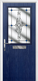 Cottage Half Glazed Crystal Bohemia Composite Front Door in Blue