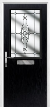 Cottage Half Glazed Crystal Bohemia Composite Front Door in Black