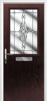 Cottage Half Glazed Crystal Bohemia Composite Front Door in Darkwood