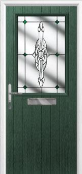 Cottage Half Glazed Crystal Bohemia Composite Front Door in Green