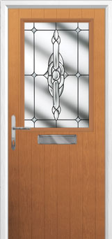 Cottage Half Glazed Crystal Bohemia Composite Front Door in Oak
