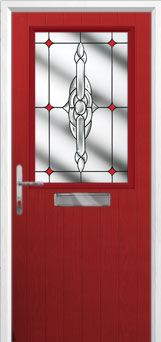 Cottage Half Glazed Crystal Bohemia Composite Front Door in Red