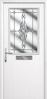 Cottage Half Glazed Crystal Bohemia Composite Front Door in White