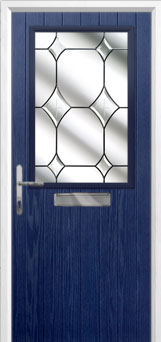 Cottage Half Glazed Crystal Diamond Composite Front Door in Blue