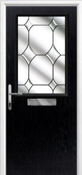 Cottage Half Glazed Crystal Diamond Composite Front Door in Black