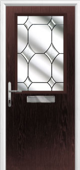 Cottage Half Glazed Crystal Diamond Composite Front Door in Darkwood