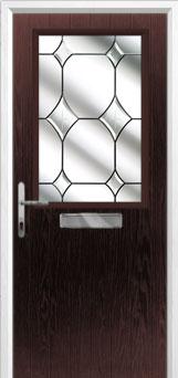 Cottage Half Glazed Crystal Diamond Composite Front Door in Darkwood