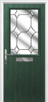 Cottage Half Glazed Crystal Diamond Composite Front Door in Green