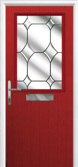 Cottage Half Glazed Crystal Diamond Composite Front Door in Red