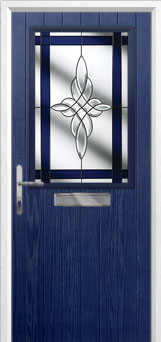 Cottage Half Glazed Crystal Harmony Composite Front Door in Blue