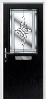 Cottage Half Glazed Crystal Harmony Composite Front Door in Black