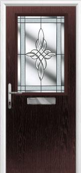 Cottage Half Glazed Crystal Harmony Composite Front Door in Darkwood