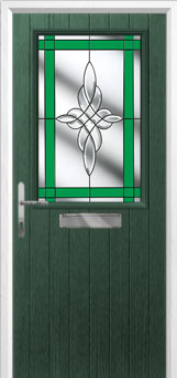 Cottage Half Glazed Crystal Harmony Composite Front Door in Green