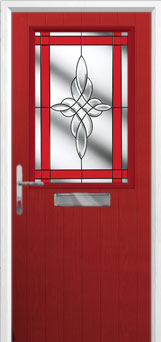 Cottage Half Glazed Crystal Harmony Composite Front Door in Red