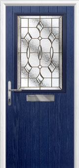 Cottage Half Glazed Brass Art Clarity Composite Front Door in Blue