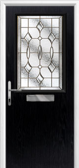 Cottage Half Glazed Brass Art Clarity Composite Front Door in Black