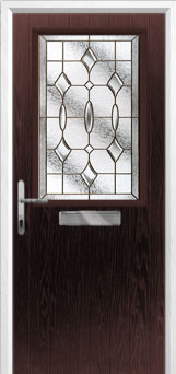 Cottage Half Glazed Brass Art Clarity Composite Front Door in Darkwood
