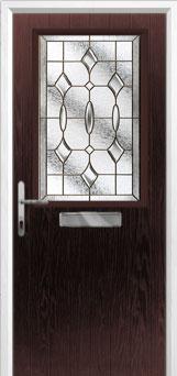 Cottage Half Glazed Brass Art Clarity Composite Front Door in Darkwood