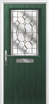 Cottage Half Glazed Brass Art Clarity Composite Front Door in Green