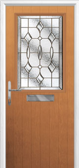 Cottage Half Glazed Brass Art Clarity Composite Front Door in Oak