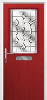 Cottage Half Glazed Brass Art Clarity Composite Front Door in Red