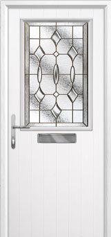 Cottage Half Glazed Brass Art Clarity Composite Front Door in White