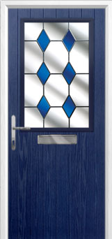 Cottage Half Glazed Drop Diamond Composite Front Door in Blue