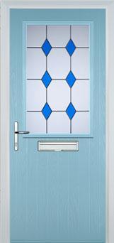 Cottage Half Glazed Drop Diamond Composite Front Door in Duck Egg Blue