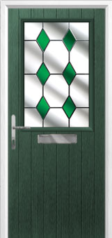 Cottage Half Glazed Drop Diamond Composite Front Door in Green
