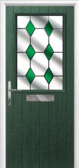 Cottage Half Glazed Drop Diamond Composite Front Door in Green