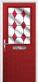 Cottage Half Glazed Drop Diamond Composite Front Door in Red