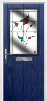 Cottage Half Glazed English Rose Composite Front Door in Blue