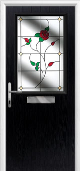 Cottage Half Glazed English Rose Composite Front Door in Black