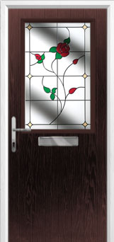 Cottage Half Glazed English Rose Composite Front Door in Darkwood