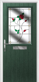 Cottage Half Glazed English Rose Composite Front Door in Green
