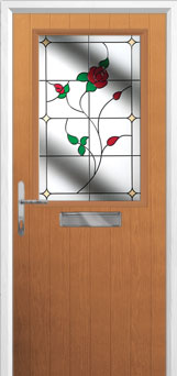Cottage Half Glazed English Rose Composite Front Door in Oak