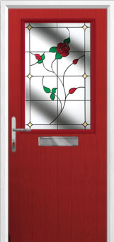 Cottage Half Glazed English Rose Composite Front Door in Red