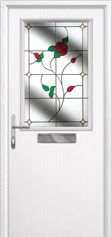 Cottage Half Glazed English Rose Composite Front Door in White