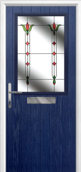 Cottage Half Glazed Fleur Composite Front Door in Blue