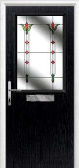 Cottage Half Glazed Fleur Composite Front Door in Black