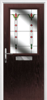 Cottage Half Glazed Fleur Composite Front Door in Darkwood
